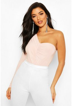 Womens Blush Slinky Drape Detail One Shoulder Bodysuit