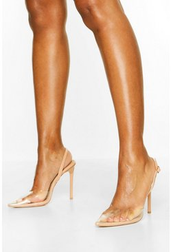 Clear Pointed Heel Courts, Nude