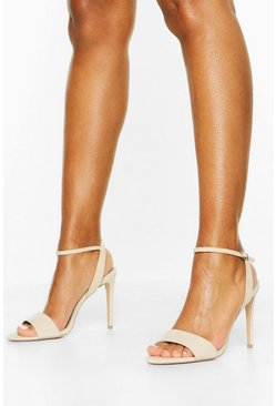 Strappy 2 Part Stiletto Heels, Nude