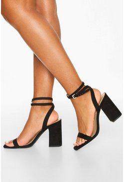 Black Two Part Block Heels
