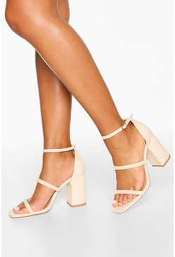 Triple Strap Block Heel Sandals, Nude