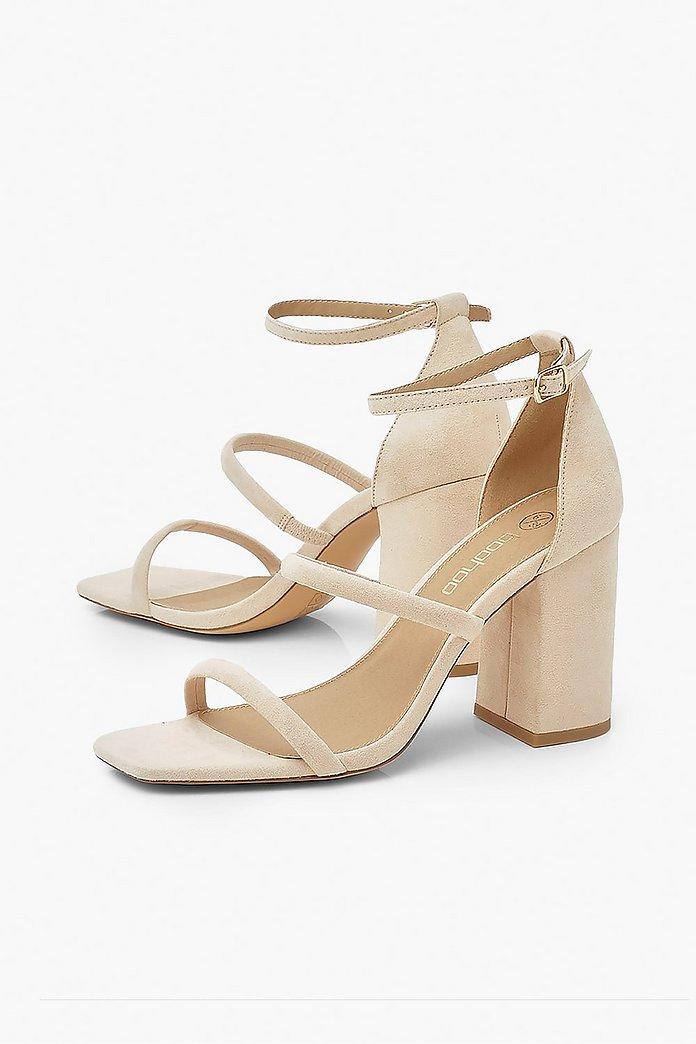 Triple Strap Block Heel Sandals | boohoo Australia