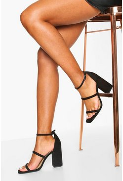 Black Triple Strap Block Heel Sandals