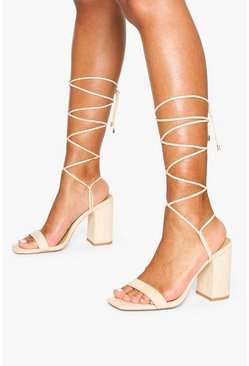 Tie Up Block Heel Sandals, Nude