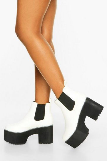 White Chunky Platform Chelsea Boots