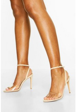 Clear Strap Stiletto 2 Part Heels, Nude