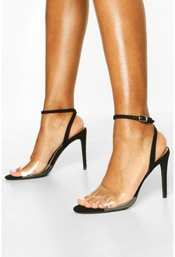 Clear Strap Stiletto 2 Part Heels, Black