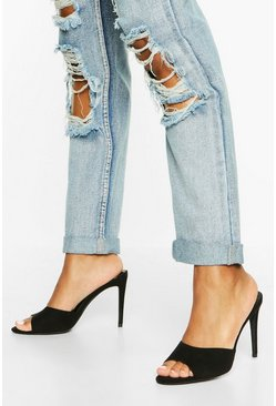 Peeptoe Stiletto Heel Mules, Black