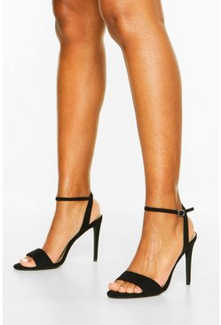 Strappy 2 Part Stiletto Heels, Black