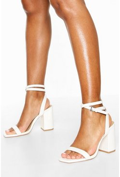 Two Part Block Heels, White