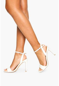 Strappy 2 Part Stiletto Heels, White