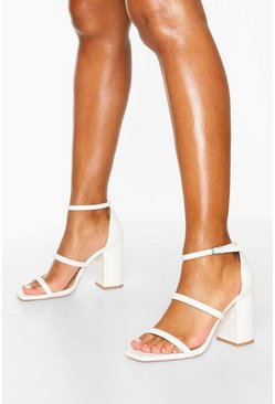 White Triple Strap Block Heel Sandals