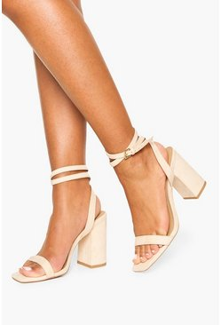 Two Part Block Heels, Nude