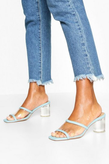 Blue Clear Panel Square Toe Mules