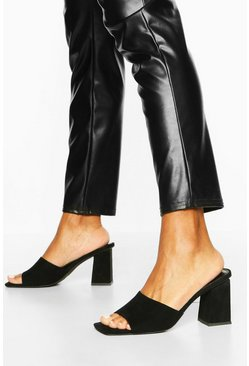 Extreme Square Toe Block Heel Mules, Black