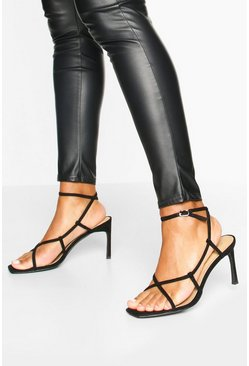 Strappy Square Toe Heel Sandals, Black