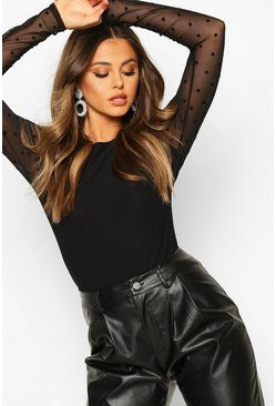 Dobby Mesh Long Sleeved Top, Black