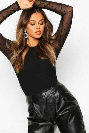 Black Dobby Mesh Long Sleeved Top