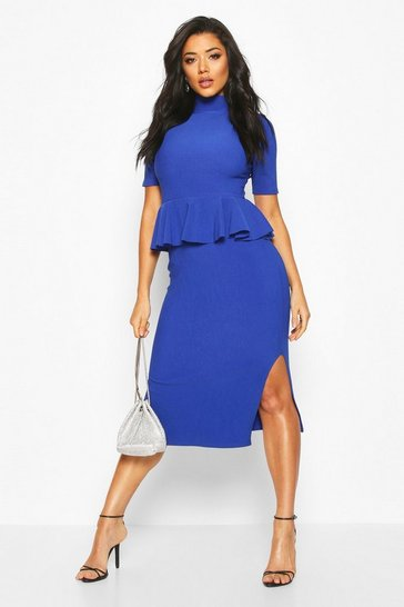 Womens Cobalt Bandage Rib High Neck Peplum Midi Dress