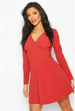 Womens Brick Bandage Rib Wrap Skater Dress