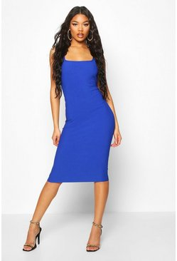 Bandage Rib Square Neck Midi Dress, Cobalt, ЖЕНСКОЕ