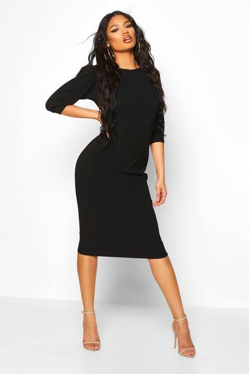 Womens Black Bandage Rib Puff Sleeve Midi Dress