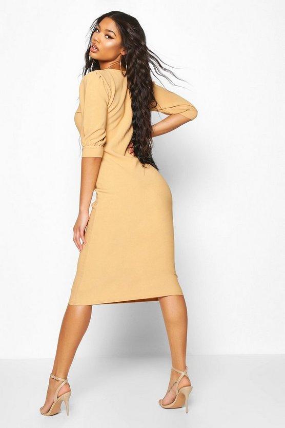 Bandage Rib Puff Sleeve Midi Dress
