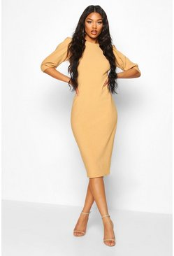 Bandage Rib Puff Sleeve Midi Dress, Stone, ЖЕНСКОЕ