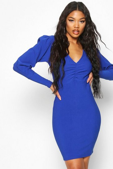 Womens Cobalt Bandage Rib Plunge Puff Sleeve Mini Dress