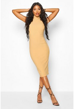 Bandage Rib High Neck Midi Dress, Stone, ЖЕНСКОЕ