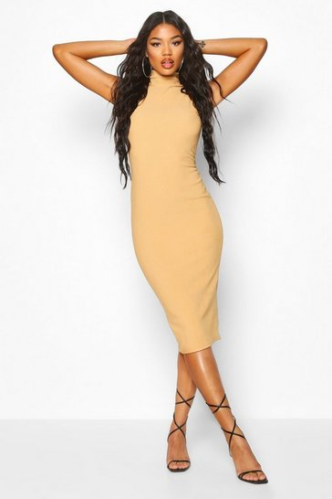 Womens Stone Bandage Rib High Neck Midi Dress