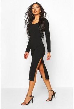 Black Bandage Rib Long Sleeve Midaxi Dress