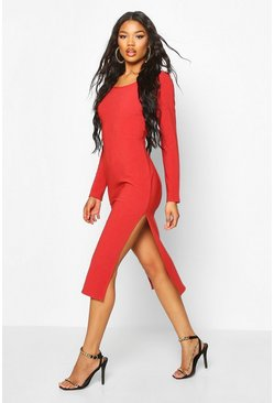 Brick Bandage Rib Long Sleeve Midaxi Dress