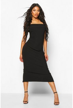Black Bandage Rib Off The Shoulder Midaxi Dress