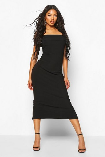 Black Bandage Rib Bardot Midaxi Dress
