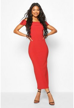 Womens Brick Bandage Rib Bardot Midaxi Dress