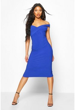 Womens Cobalt Bandage Rib Bardot Midi Dress