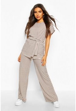 Womens Grey Stripe Rib Belted Wide Leg Co-ord