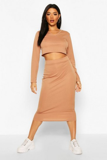 Womens Camel Rib Long Sleeve Top And Midi Skirt Co-ord