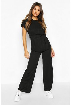 Womens Black Tie Waist Bandage Rib Co-Ord