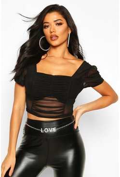 Mesh Ruched Puff Sleeve Crop Top, Black, FEMMES