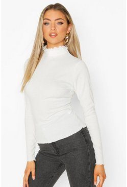 Womens White Lettuce Hem Ribbed Long Sleeve Top