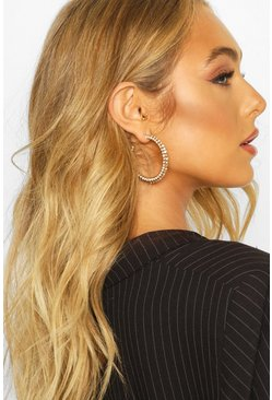 All Over Diamante Hoop Earrings, Gold