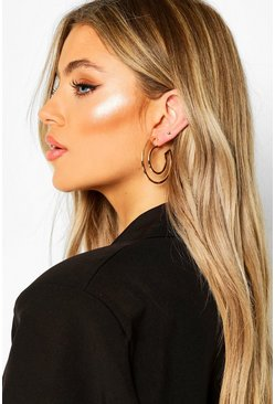 Cut Out Hoop Earrings, Gold