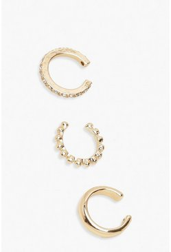 3 Pack Textured & Diamante Ear Cuffs, Gold