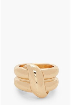 Chunky Twist Statement Ring, Gold