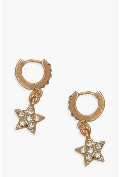 Diamante Star Huggie Hoop Earrings, Gold