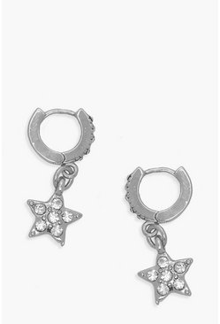 Silver Diamante Star Huggie Hoop Earrings