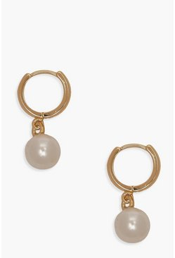 Pearl Pendant Huggie Hoop Earrings, Gold