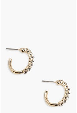 Diamante Huggie Hoop Earrings, Gold